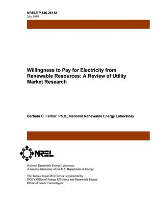 Primary view of object titled 'Willingness to Pay for Renewable Electricity: A Review of Utility Market Research'.