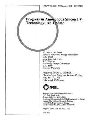 Primary view of object titled 'Progress in amorphous silicon PV technology: An update'.