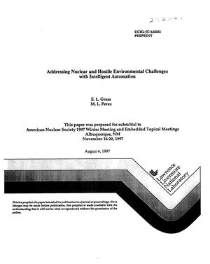 Primary view of object titled 'Addressing nuclear and hostile environment challenges with intelligent automation'.