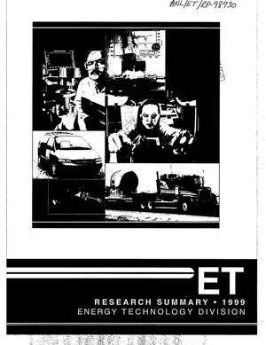 Primary view of object titled 'Energy Technology Division research summary - 1999.'.