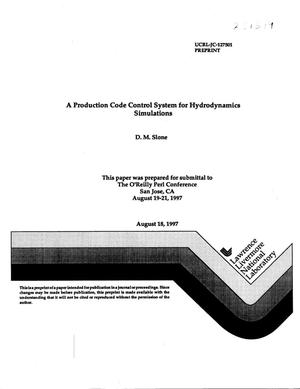 Primary view of object titled 'Production code control system for hydrodynamics simulations'.