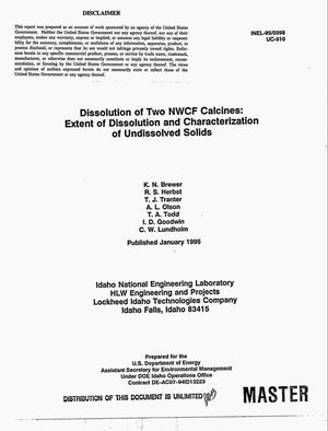 Primary view of object titled 'Dissolution of two NWCF calcines: Extent of dissolution and characterization of undissolved solids'.