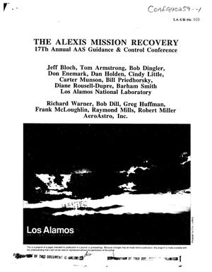 Primary view of object titled 'The ALEXIS mission recovery'.