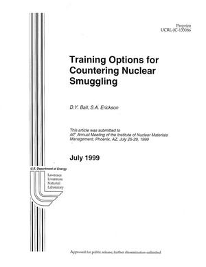 Primary view of object titled 'Training options for countering nuclear smuggling'.