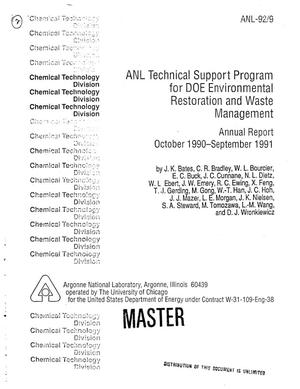 Primary view of object titled 'ANL Technical Support Program for DOE Environmental Restoration and Waste Management. Annual report, October 1990--September 1991'.