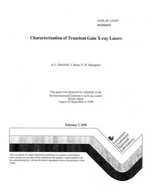 Primary view of object titled 'Characterization of transient gain x-ray lasers'.