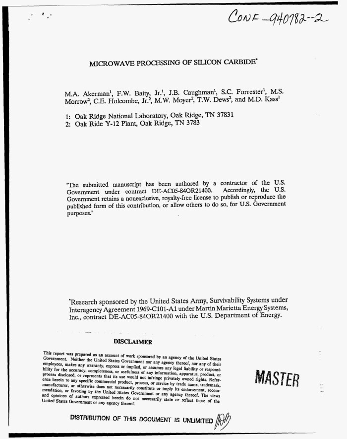 Microwave processing of silicon carbide - Digital Library