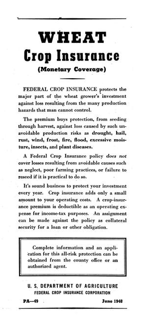 Primary view of object titled 'Wheat crop insurance : (monetary coverage)'.