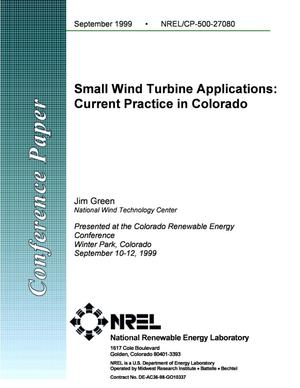 Primary view of object titled 'Small Wind Turbine Applications: Current Practice in Colorado'.