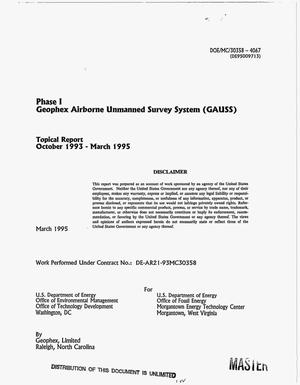 Primary view of object titled 'Geophex Airborne Unmanned Survey System (GAUSS). Topical report, October 1993--March 1995'.