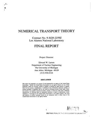 Primary view of object titled 'Numerical transport theory; Final report'.