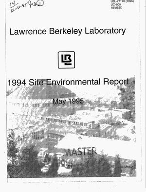 Primary view of object titled 'Lawrence Berkeley Laboratory 1994 site environmental report'.