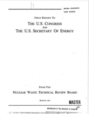 Primary view of object titled 'First report to the US Congress and the US Secretary of Energy'.