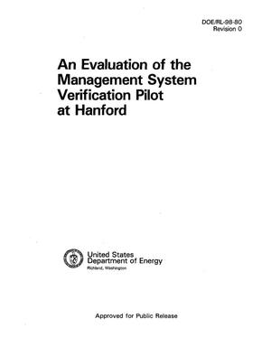 Primary view of object titled 'An evaluation of the management system verification pilot at Hanford'.