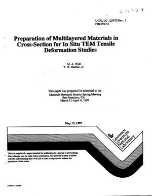 Primary view of object titled 'Preparation of multilayered materials in cross-section for in situ TEM tensile deformation studies'.