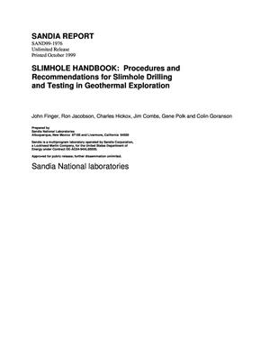 Primary view of object titled 'Slimhole Handbook: Procedures and Recommendations for Slimhole Drilling and Testing in Geothermal Exploration'.