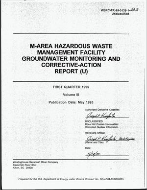 Primary view of object titled 'M-area hazardous waste management facility groundwater monitoring and corrective-action report, First quarter 1995, Volume 3'.