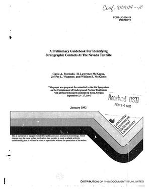 Primary view of object titled 'A preliminary guidebook for identifying stratigraphic contacts at the Nevada Test Site'.