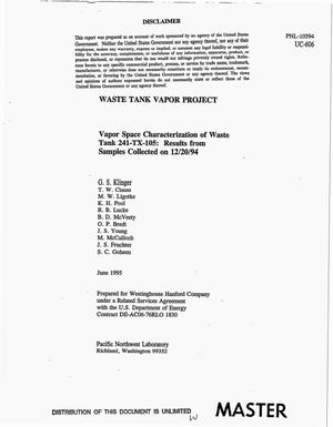 Primary view of object titled 'Vapor space characterization of waste tank 241-TX-105: Results from samples collected on December 20, 1994. Waste Tank Vapor Project'.