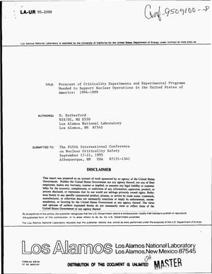 Primary view of object titled 'Forecast of criticality experiments and experimental programs needed to support nuclear operations in the United States of America: 1994-1999'.