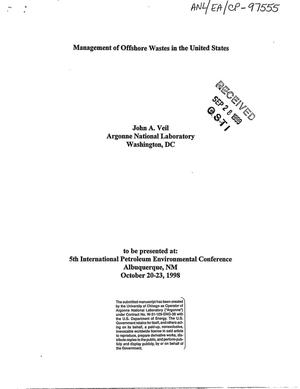 Primary view of object titled 'Management of offshore wastes in the United States.'.