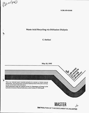 Primary view of object titled 'Waste acid recycling via diffusion dialysis'.