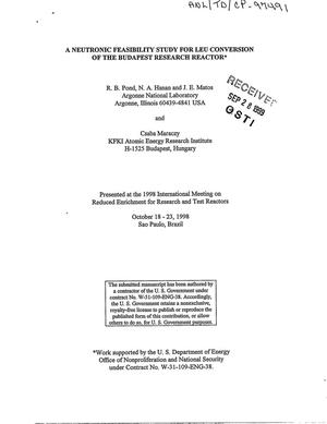 Primary view of object titled 'A neutronic feasibility study for LEU conversion of the Budapest research reactor.'.
