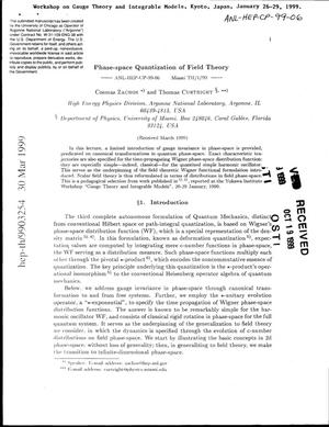 Primary view of object titled 'Phase-space quantization of field theory.'.