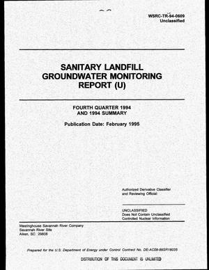 Primary view of object titled 'Sanitary landfill groundwater monitoring report. Fourth quarter 1994 and 1994 summary'.