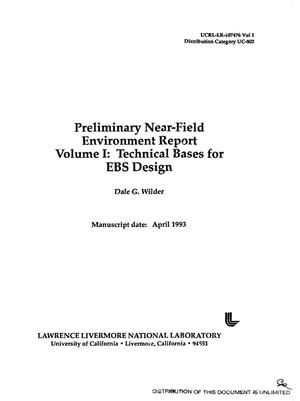 Primary view of object titled 'Preliminary near-field environment report; Volume 1, Technical bases for EBS design'.