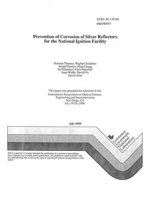Primary view of object titled 'Prevention of corrosion of silver reflectors for the National Ignition Facility'.