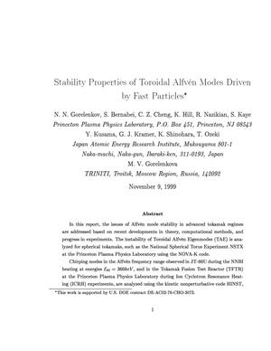 Primary view of object titled 'Stability Properties of Toroidal Alfven Modes Driven by Fast Particles'.