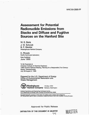 Primary view of object titled 'Assessment for potential radionuclide emissions from stacks and diffuse and fugitive sources on the Hanford Site'.