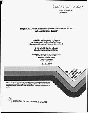 Primary view of object titled 'Target Area design basis and system performance for the National Ignition Facility. Revision 1'.