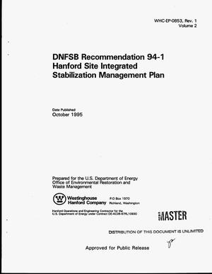 Primary view of object titled 'DNFSB Recommendation 94-1 Hanford Site Integrated Stabilization Management Plan. Volume 2'.