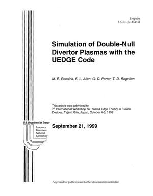 Primary view of object titled 'Simulation of double-null divertor plasmas with the UEDGE code'.