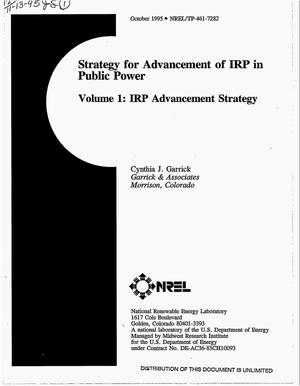 Primary view of object titled 'Strategy for advancement of IRP in public power, Volume 1: IRP advancement strategy'.