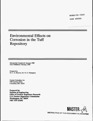 Primary view of object titled 'Environmental effects on corrosion in the Tuff repository'.