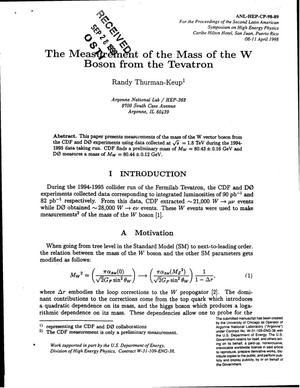 Primary view of object titled 'The measurement of the mass of the W boson from the Tevatron.'.