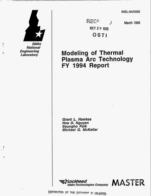 Primary view of object titled 'Modeling of thermal plasma arc technology FY 1994 report'.