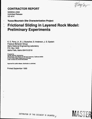 Primary view of object titled 'Frictional sliding in layered rock model: Preliminary experiments. Yucca Mountain Site Characterization Project'.