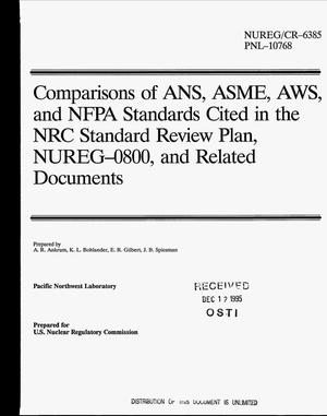 Primary view of object titled 'Comparisons of ANS, ASME, AWS, and NFPA standards cited in the NRC standard review plan, NUREG-0800, and related documents'.