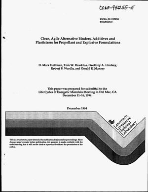 Primary view of object titled 'Clean, agile alternative binders, additives and plasticizers for propellant and explosive formulations'.