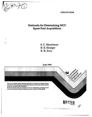 Primary view of object titled 'Rationale for determining MCC spent fuel acquisitions'.