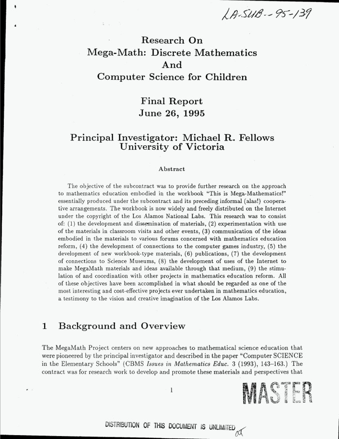 Primary View Of Object Titled Research On Mega Math Discrete Mathematics And Computer
