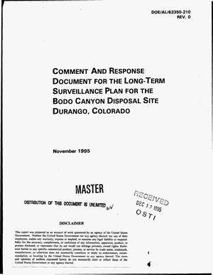 Primary view of object titled 'Comment and response document for the long-term surveillance plan for the Bodo Canyon Disposal Site, Durango, Colorado, Revision 0'.