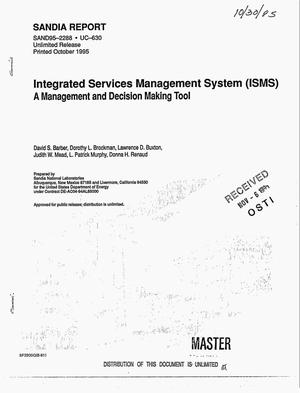 Primary view of object titled 'Integrated Services Management System (ISMS): A management and decision making tool'.
