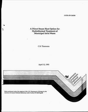 Primary view of object titled 'A direct steam heat option for hydrothermal treatment of municipal solid waste'.
