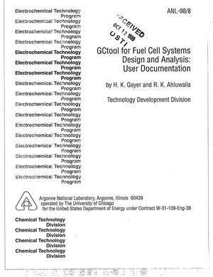 Primary view of object titled 'GCtool for fuel cell systems design and analysis : user documentation.'.