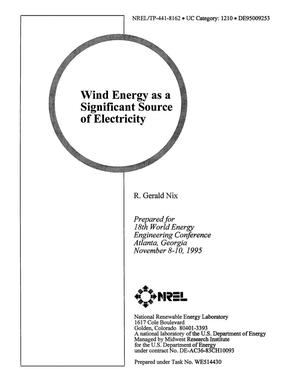 Primary view of object titled 'Wind energy as a significant source of electricity'.